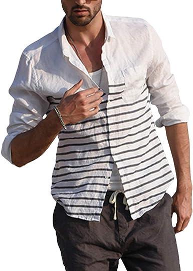 Manga Larga Camisa a Raya para Hombre Slim Fit Solapa Camisa Casual Button Camisa Estampada Transpirable Suave Camisa de Playa para Primavera y Otoño: Amazon.es: Ropa y accesorios