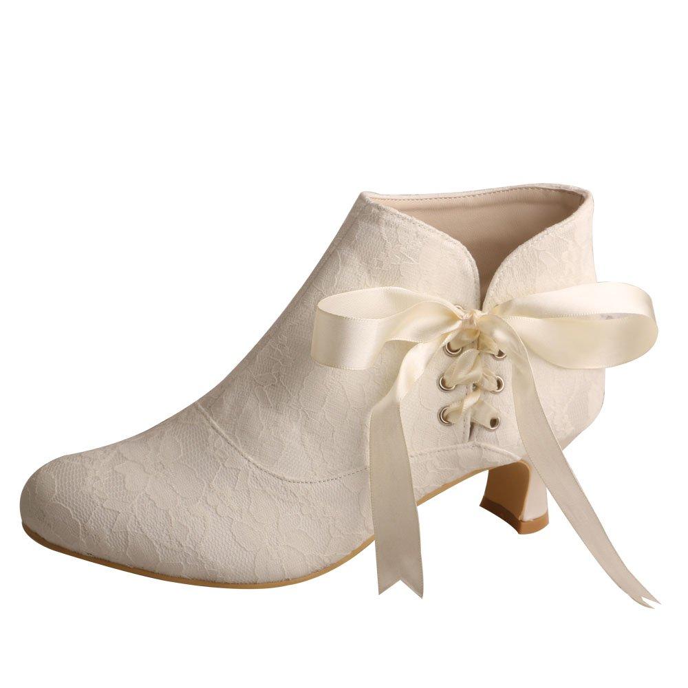 Wedopus MW798 Women's Closed Toe Short Chunky Heel Ribbon Lace Wedding Dress Ankle Boots Size 11 Ivory