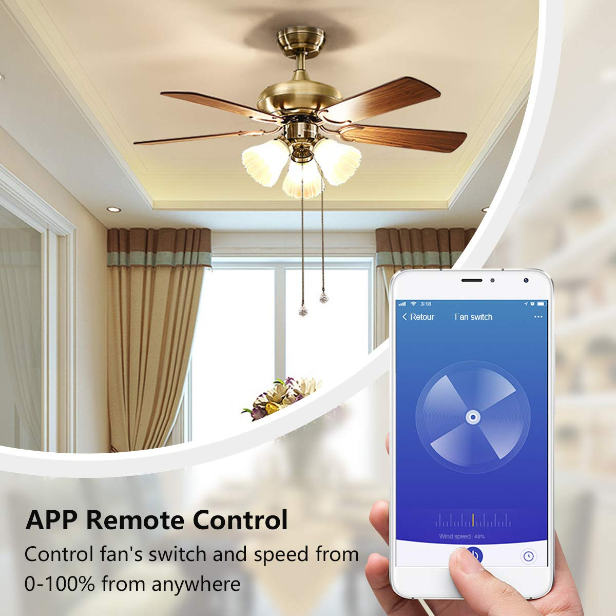 Smart Light Fan Switch, WiFi Ceiling Fan Speed Controller Fan Light Timer APP/Voice/Touch Control Compatible with Alexa and Google Home