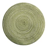 FILOL Placemats -Round Circle Placemats Table Place Mats Waterproof Washable Kitchen Dinner Table Heat Pads 35cm (Green)