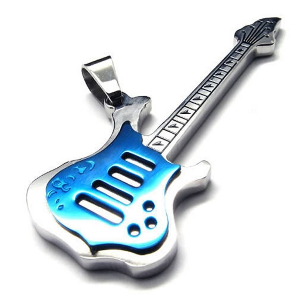 Womens Mens Pendant-Necklace Steel Guitar Link Fit 18-26 Epinki Stainless Steel Necklaces