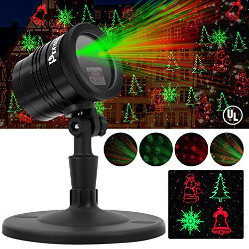 Proteove Christmas Laser Lights Projector - IP65 Waterproof with RF Wireless Remote, Red and Green Star show for Christmas, Party, Landscape and Garden Decorations