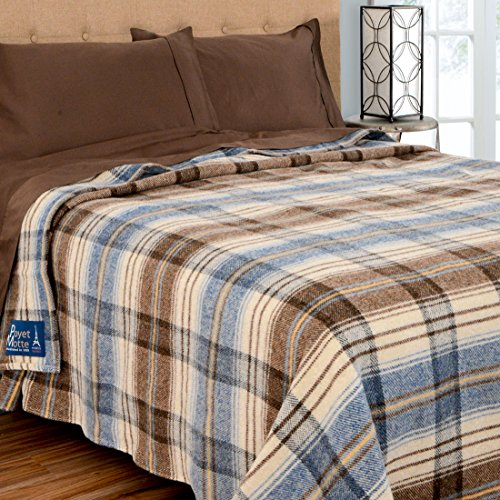 Poyet Motte Chevreuse Heavyweight Wool Blend Oversized Blanket, Machine Washable (Full/Queen Size, Blue Stripe) by Poyet Motte Made In France