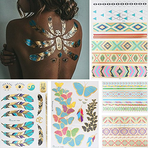 Nice 6 Sheets Metallic Tattoo Flash Chain Temporary Jewelry Sticker Paper Butterfly Feather for cheap