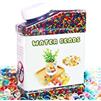 Elongdi Water Beads Pack Rainbow Mix Over 50,000 Orbies Beads Growing Balls, Jelly Water Gel Beads for Orbeez Spa Refill, Kids Sensory Toys , Vases, Plant, Wedding and Home Decor