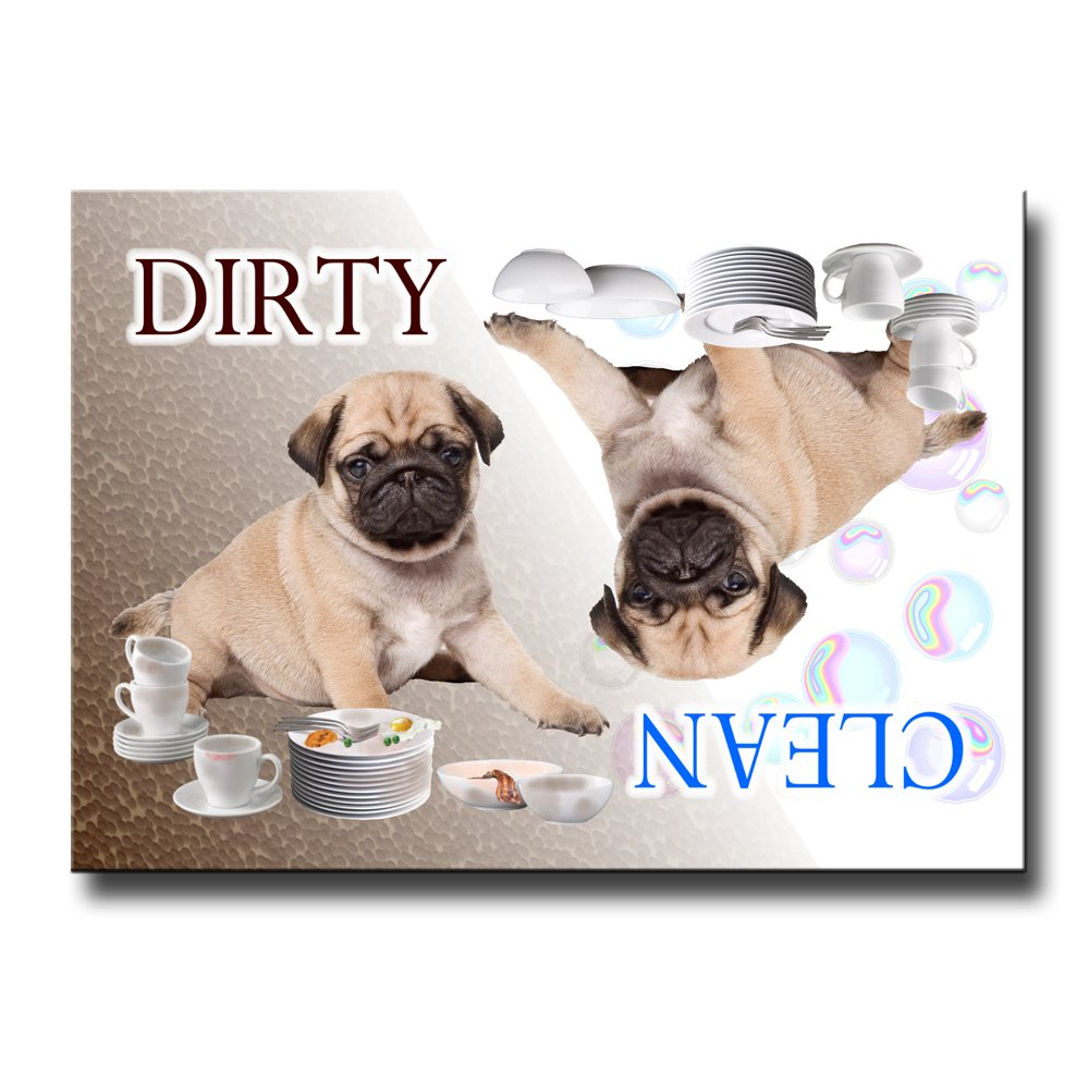 Pug Clean Dirty Dishwasher Magnet Puppy No 3 (Fawn)