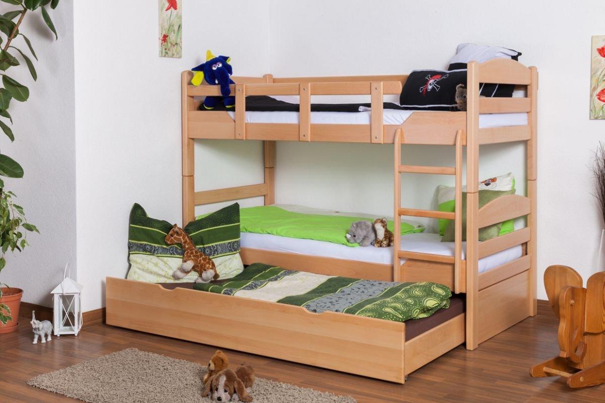 Stockbett mit Bettkasten Easy Sleep K3/h inkl. Liegeplatz und 2 Abdeckblenden, 90 x 200 cm Buche Vollholz massiv Natur, teilbar