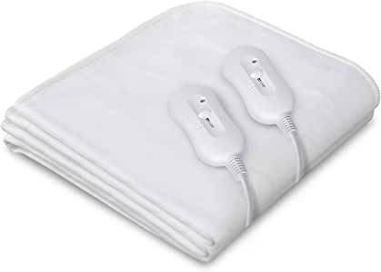 Giselle Bedding Heated Electric Blanket Washable Fully Fitted Polyester Underlay Warm Bed Queen