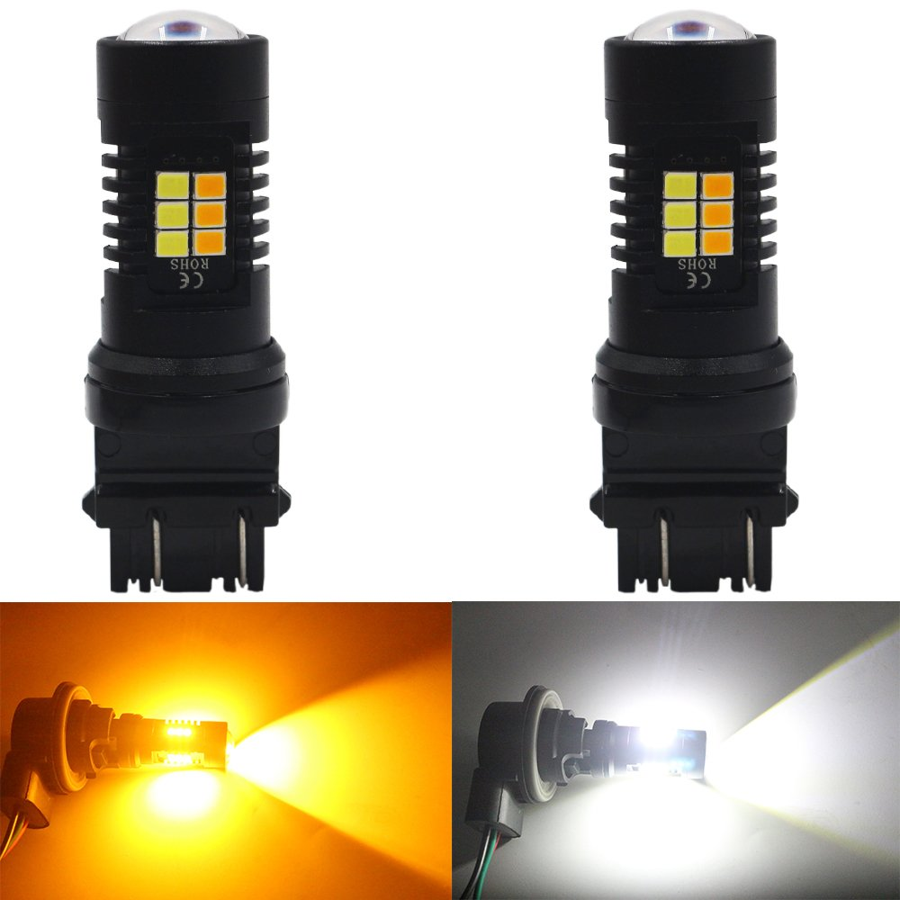 Xenon White for Daytime Running Light//Parking Light AMAZENAR 2-Pack 1157 2057 2357 7528 BAY15D P21//5W Switchback LED Bulb Super Bright Yellow for Turn Signal Blinkers 24-SMD with Projector Lens