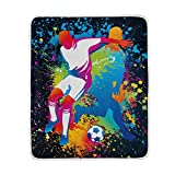 ALIREA Football Players With Soccer Super Soft Warm Blanket Lightweight Throw Blankets for Bed Couch Sofa Travelling Camping 60 x 50 Inch for Kids Boys Girls