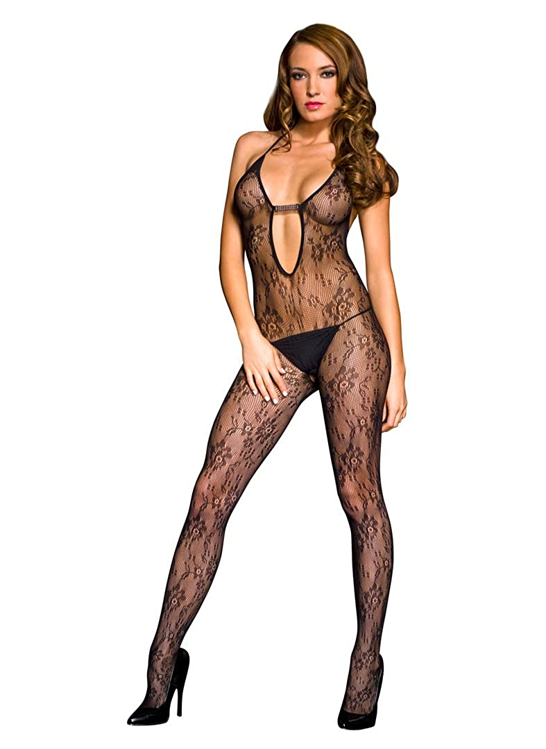 Music Legs Women's Lace Halter Deep V Crotchless Bodystocking Black One Size 1288