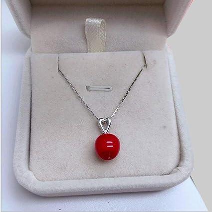 Collar De Plata Colgante De Apple Femenino, Cadena De Plata Esterlina Collar De Clavícula,