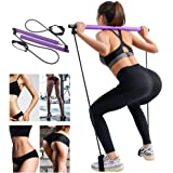 GEHARTY Portable Pilates Bar Kit with Resistance Band, Yoga Pilates Stick Total Body Workout Bar, Portable Pilates Stick Muscle Toning Bar with Foot Loop for Home Gym (Purple)