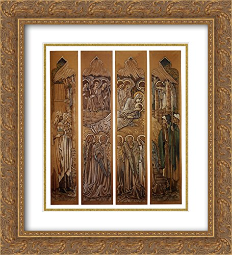 Edward Burne Jones 2X Matted 20x22 Gold Ornate Framed Art Print 'The Nativity, Cartoons for Stained Glass at St. David's Church, Hawarden'