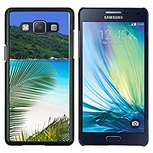 KLONGSHOP // Cubierta de piel con cierre a presión Shell trasero duro de goma Protección Caso - Paradise Palm Beach - Samsung Galaxy A5 A5000 //