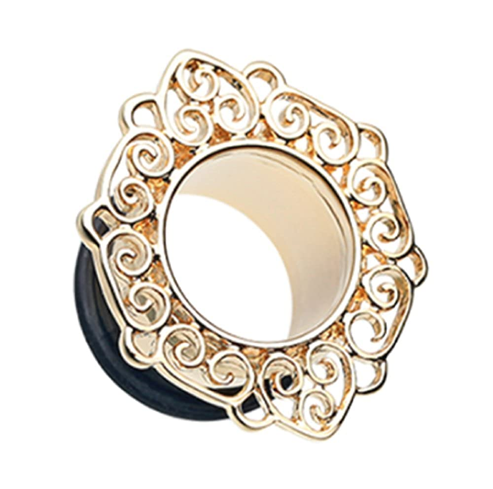 Sold by Pair Golden Fliigree Ornate Single Flared Freedom Fashion Tunnel Plug
