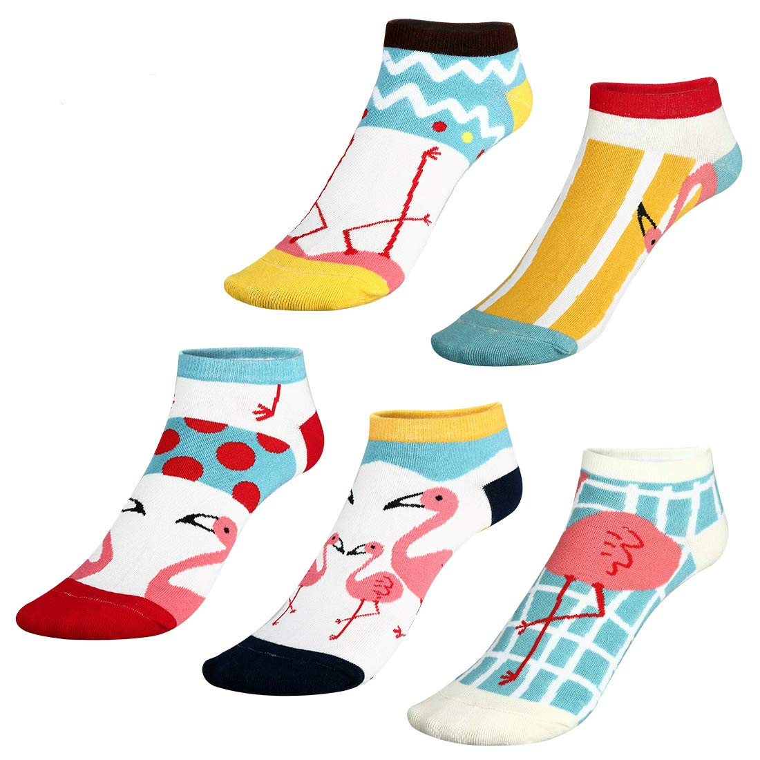 """109745b2dbd GREAT VALUE - Amazing price with 5 pairs fantastic flamingo low cut socks  in a pack  - Free size 7¾""""-10¼"""""""
