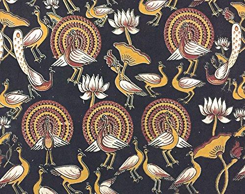 Cotton Fabric for Craft Bulletin Board Sewing Pillows - Indian Block Print Kalamkari 1 Yard by ()