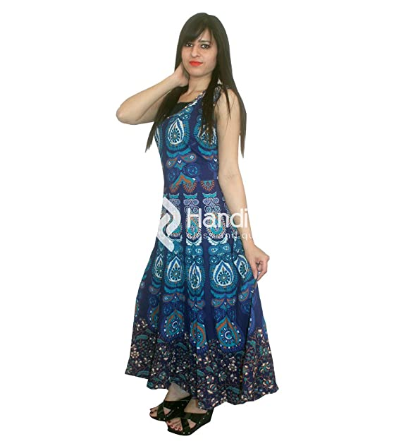 Vestido azul pavo largo