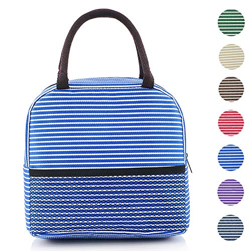 MODARANI Womens Vintage Blue Stripe Thermal Insulated Lunch Boxes Lunch Tote Bag Cooler Bag with ()