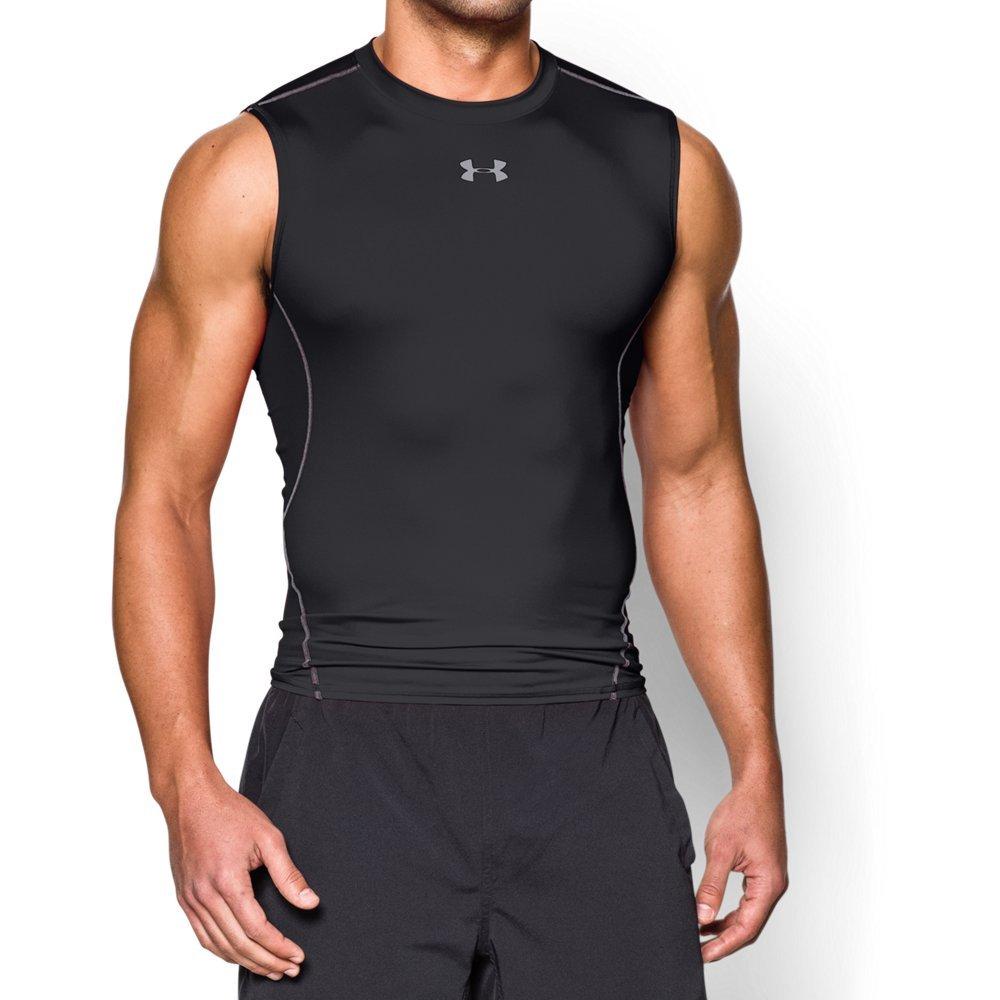 Under Armour Men's HeatGear Armour Sleeveless Compression Shirt, Black /Steel, Medium