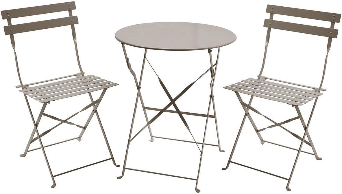 Charles Bentley - Gartenmöbel-Set im Bistro-Stil - 1 runder Tisch & 2 Stühle aus Metall - zusammenklappbar - Taupe