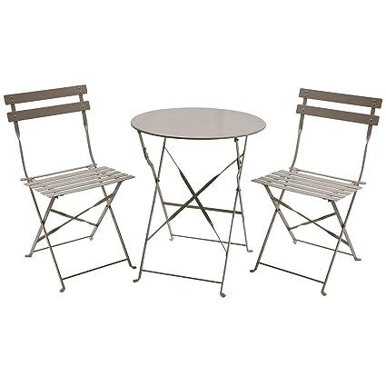 Charles Bentley - Salon de Jardin Pliable 3 pièces - Table Ronde/2 ...
