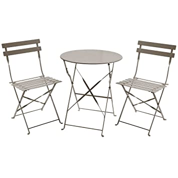 Charles Bentley 3 Piece Folding Metal Bistro Set Garden Patio Furniture  Round Table U0026 2 Chairs