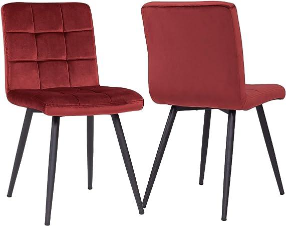 Duhome 2X Chaise Salle à Manger en Tissu (Velours) Rouge sélection de Couleur Chaise rembourrée Design Retro avec Pieds en métal 8043B