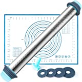 Fondant Rolling Pin and Baking Mat - Stainless Steel Dough Roller with Removable Rings for Perfect Thickness, Great for Making Pizza, Pasta, Cookies Dough, Fondant Cake and More, Easy To Use & Clean