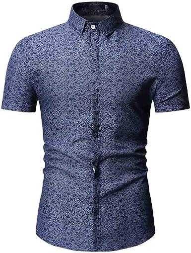 Overdose Camisetas para Hombres Italianas Camisa Informal Hombre Verano Manga Corta de Vestir T Shirt Entalladas Elegantes Estampadas: Amazon.es: Ropa y accesorios