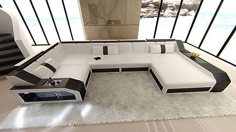 Sofa Dreams Leder Wohnlandschaft Arezzo U Form Weiss Schwarz Amazon