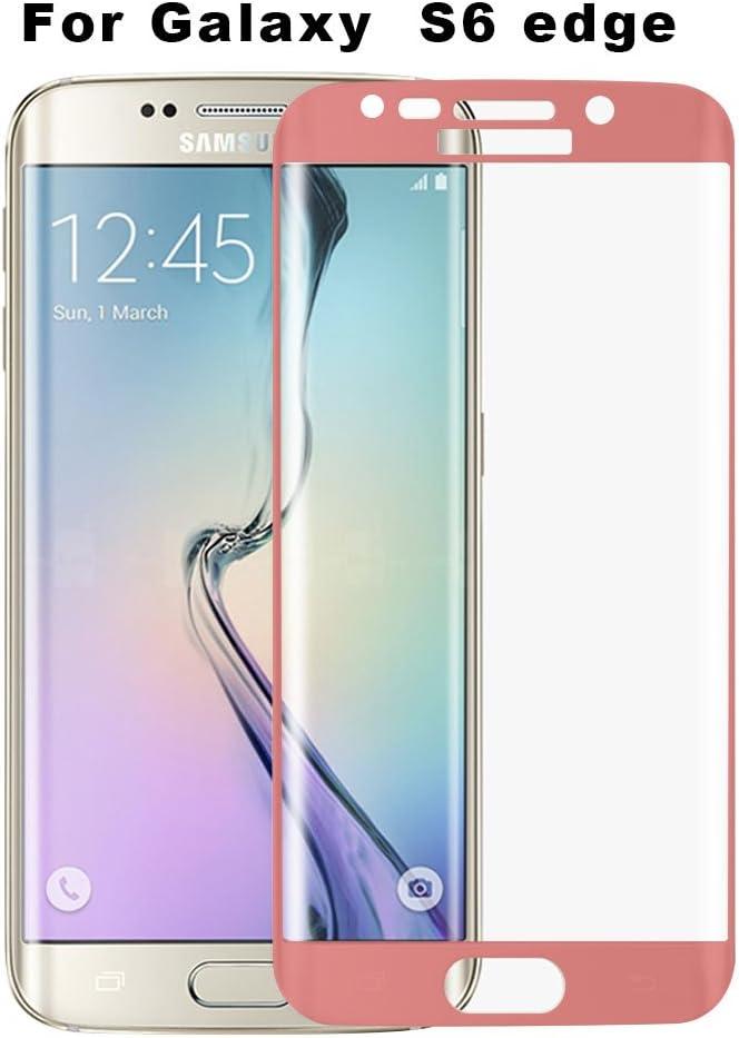 Widamin] Samsung Galaxy S6 Edge curvada (S6 Edge no normal S6 Edge Plus) Protector de cristal templado, totalmente Original Protector de pantalla curvada itcentre Galaxy S6 Edge rosa S6 edge Pink S6