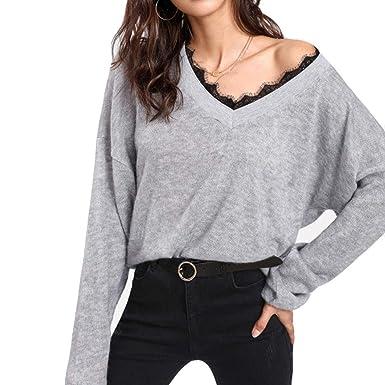 abc3a4528b87f2 Damen Pullover Sweatshirt Ronamick V–Ausschnitt Spitze Lange Ärmel  Gestrickt Langarm Beiläufige Stricken Strickpulli Strickjacke