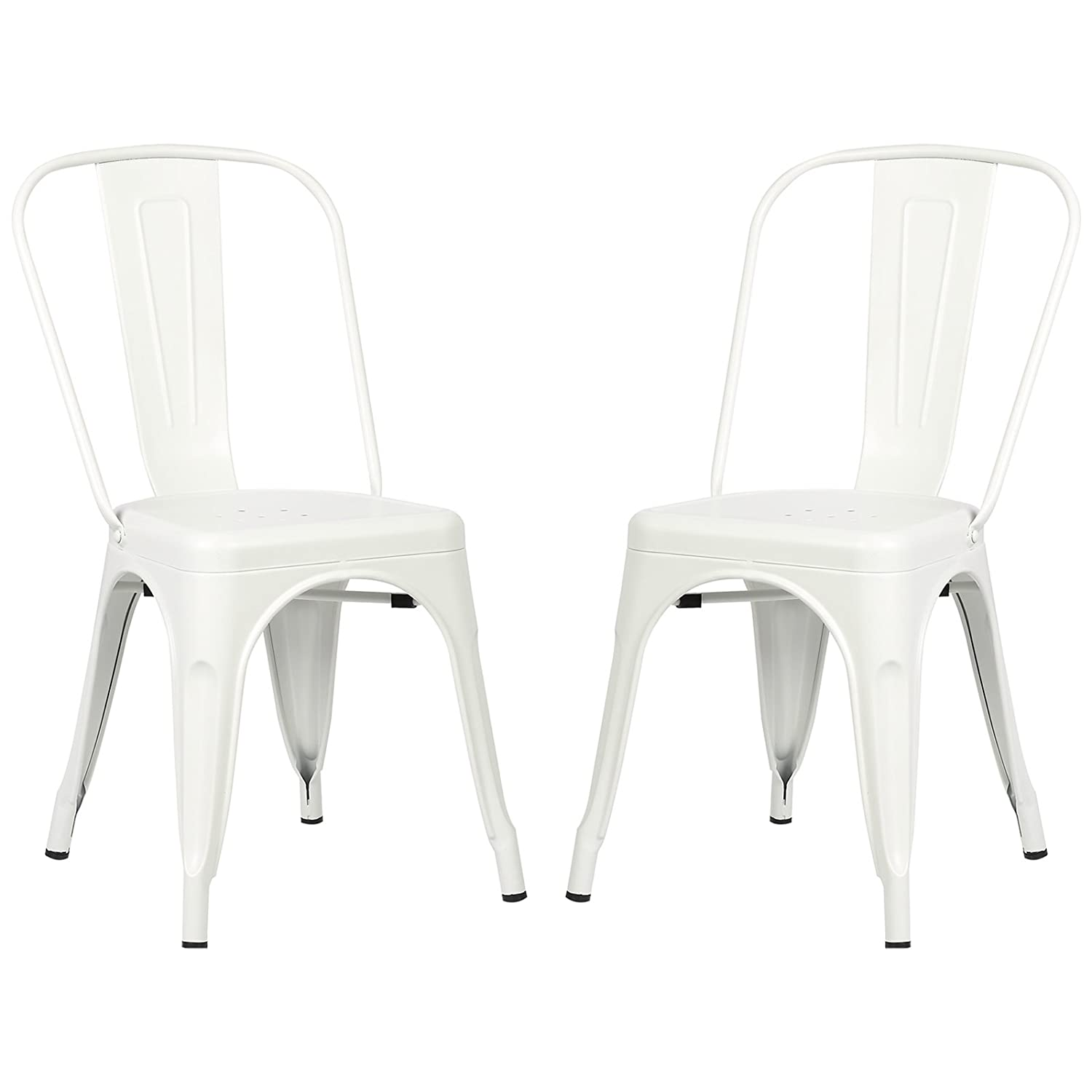 Poly and Bark Trattoria Kitchen and Dining Metal Side Chair in White Set of 2