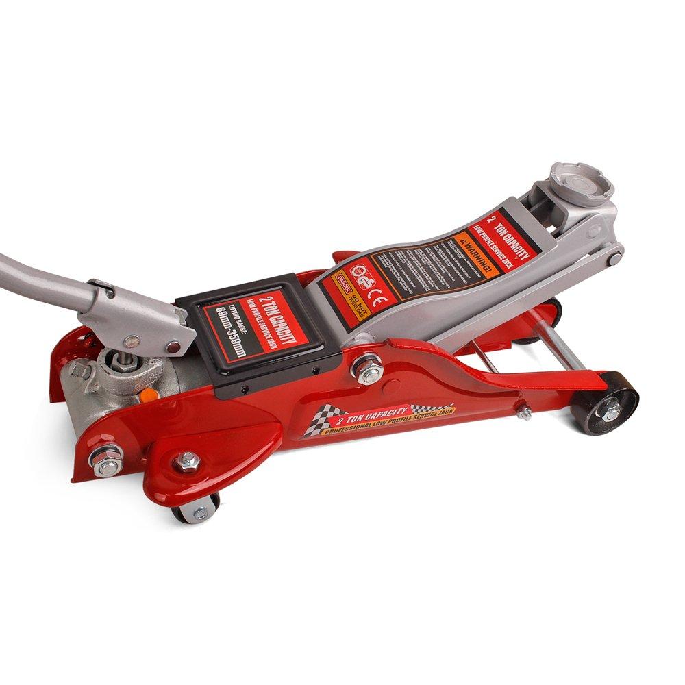 Forever Speed Cric/Sollevatore/Martinetto Idraulico a Carrello/Cric Idraulico a Ruote 2T/2000Kg Escursione: 89-359mm (Rosso)