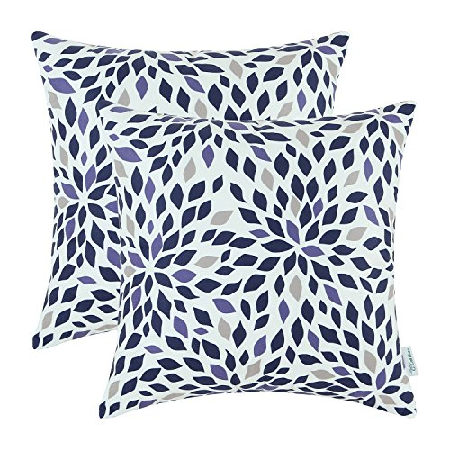 CaliTime Pack of 2 Cozy Fleece Throw Pillow Cases Covers for Couch Bed Sofa 18 X 18 Inches, Modern Geometric Chrysanthemum Floral Leaves, Main Navy Blue