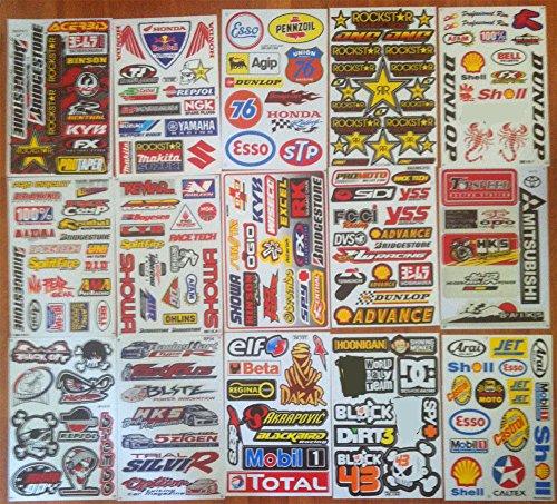 Rc Racing Decals - Set of Assorted 15 Sheets ATV Helmet Moto Rc Vinyl Car Stickers Decals