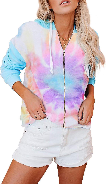 Zecilbo Womens Full-Zip Hoodie Jacket Tie Dye Long Sleeve Sweatshirt with Pocket