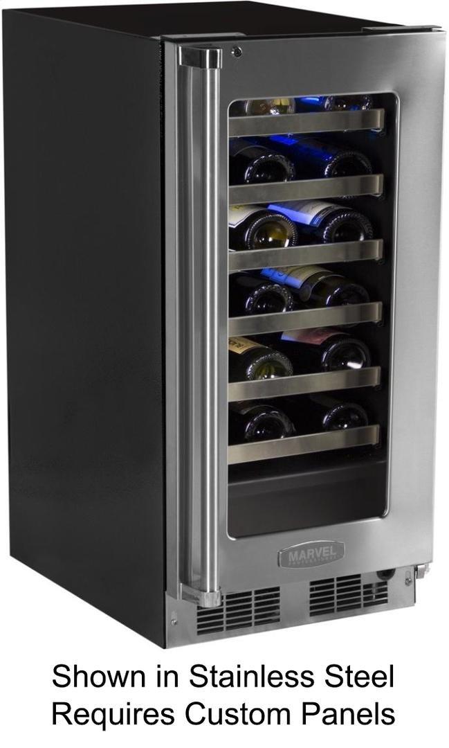 Marvel MP15WSF3RP Professional Single Zone Wine Cellar Panel Ready Overlay Door, 15'', Black