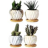 Succulent Pots, Krisami Marble Pattern Flower Planter Pot with Bamboo Tray, Small Plants Ceramic Flowerpot, Garden…