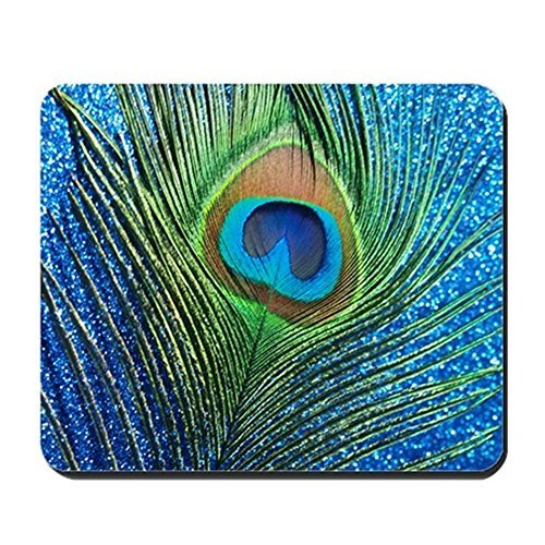 Gaming Mouse Pad for Notepad Glittery Blue Peacock Feather Curtain Non-slip Rubber School Desk Decor Mouse Pad for Laptop 10 x 8 Inch