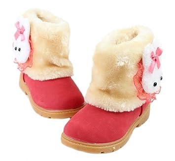 c9cba51b6 Arrowhunt Baby Girls Winter Fur Shoes Kids Rabbit Warm Snow Boots ...