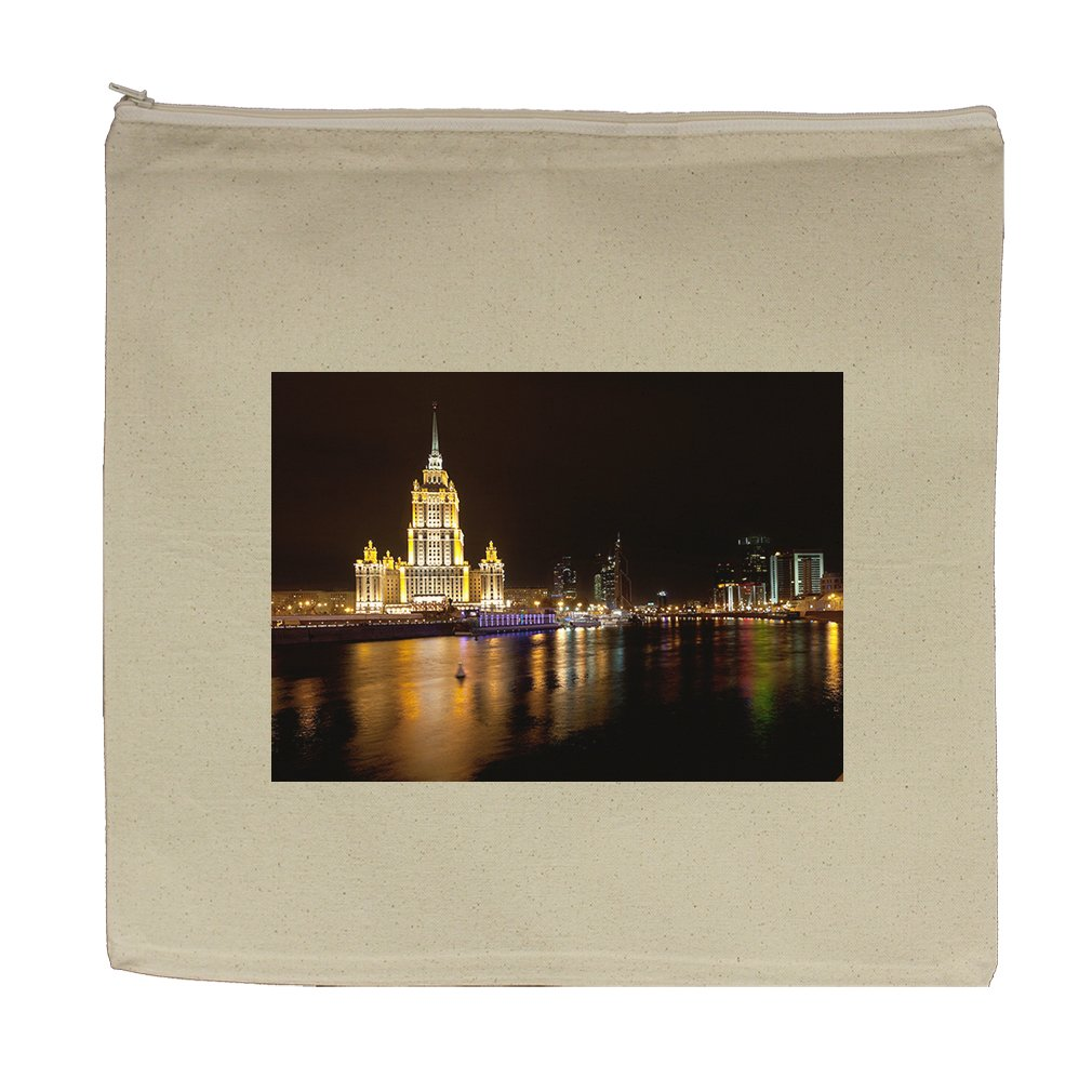 Canvas Zipper Pouch Tote Bag 5.5''X7.5'' World Trade Center Ukraina Hotel Moscow