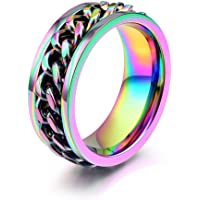 JAJAFOOK Jewelry 8mm Color Chain Design Stainless Steel Spins Rings for Mens & Womens Wedding Bands