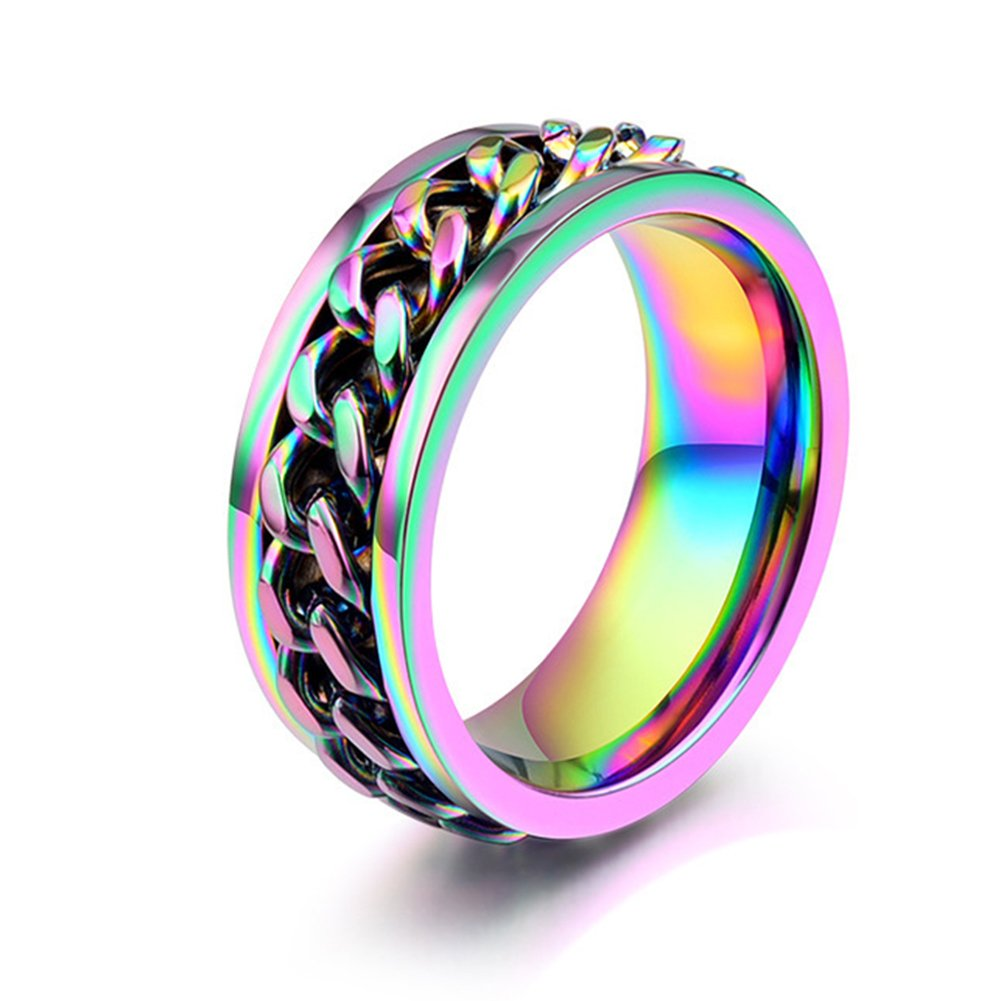 JAJAFOOK Jewelry 8mm Color Chain Design Stainless Steel Spinner Rings for Mens /& Womens Wedding Bands