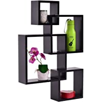 4-Set Teeker Intersecting Decorative Color Wall Shelf (Black)