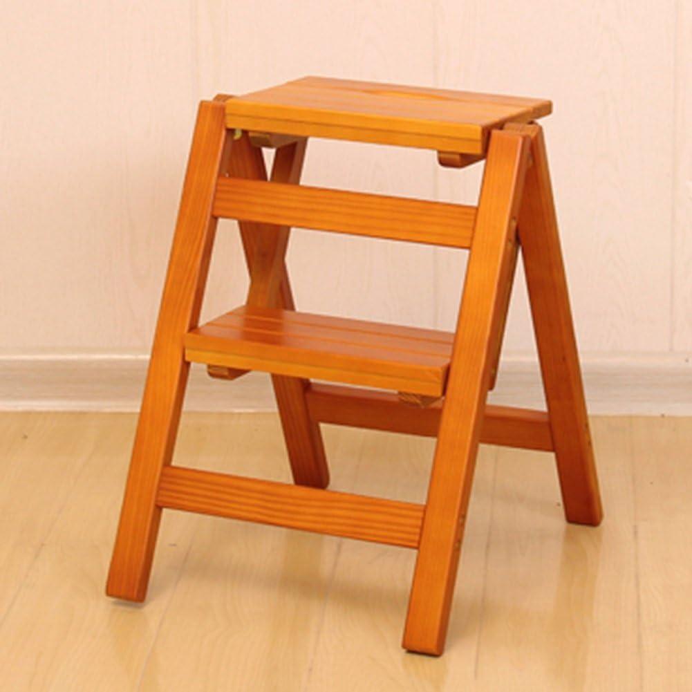LIXIONG Tabouret d/échelle Bois Massif Pliant 2 /étapes M/énage Multifonction Chaise descalier tabourets de biblioth/èque Couleur : Wood