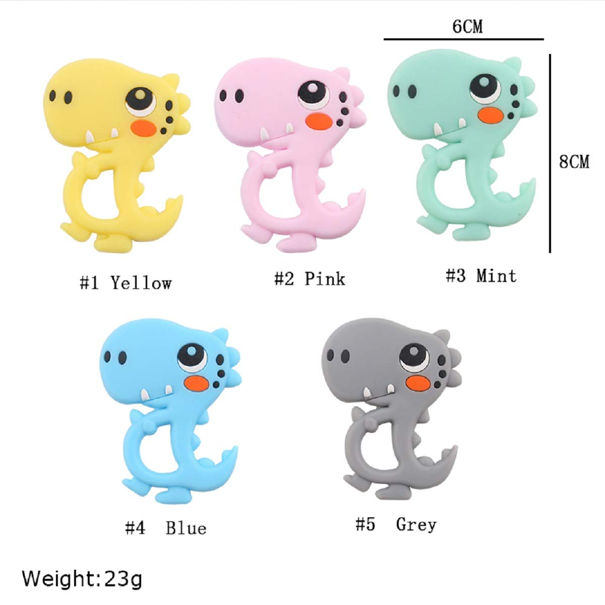 Biter teether 5pcs Silicone Baby Teether Toy Dinosaur Pendant Necklace Teething Chew Toys Accessory BPA Free Soothing Teether
