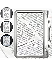 MagniPros 3X Large Ultra Bright LED Page Magnifier with 12 Anti-Glare Dimmable LEDs (Provide More Evenly Lit Viewing Area & Relieve Eye Strain)-Ideal for Reading Small Prints & Low Vision Seniors with Aging Eyes